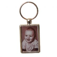 Double-Sided Photo Keyring - Brushed Steel